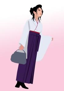 くわじま整骨院から徒歩3分のところに、樟蔭女子大学生の袴の女性がたくさん